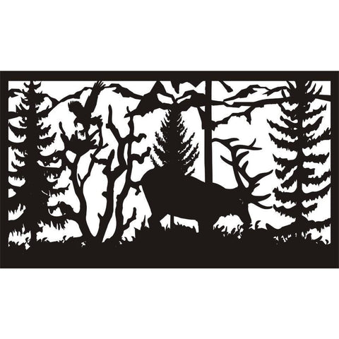 28 X 48 Elk Feeding Eagle Landing - AJD Designs Homestore