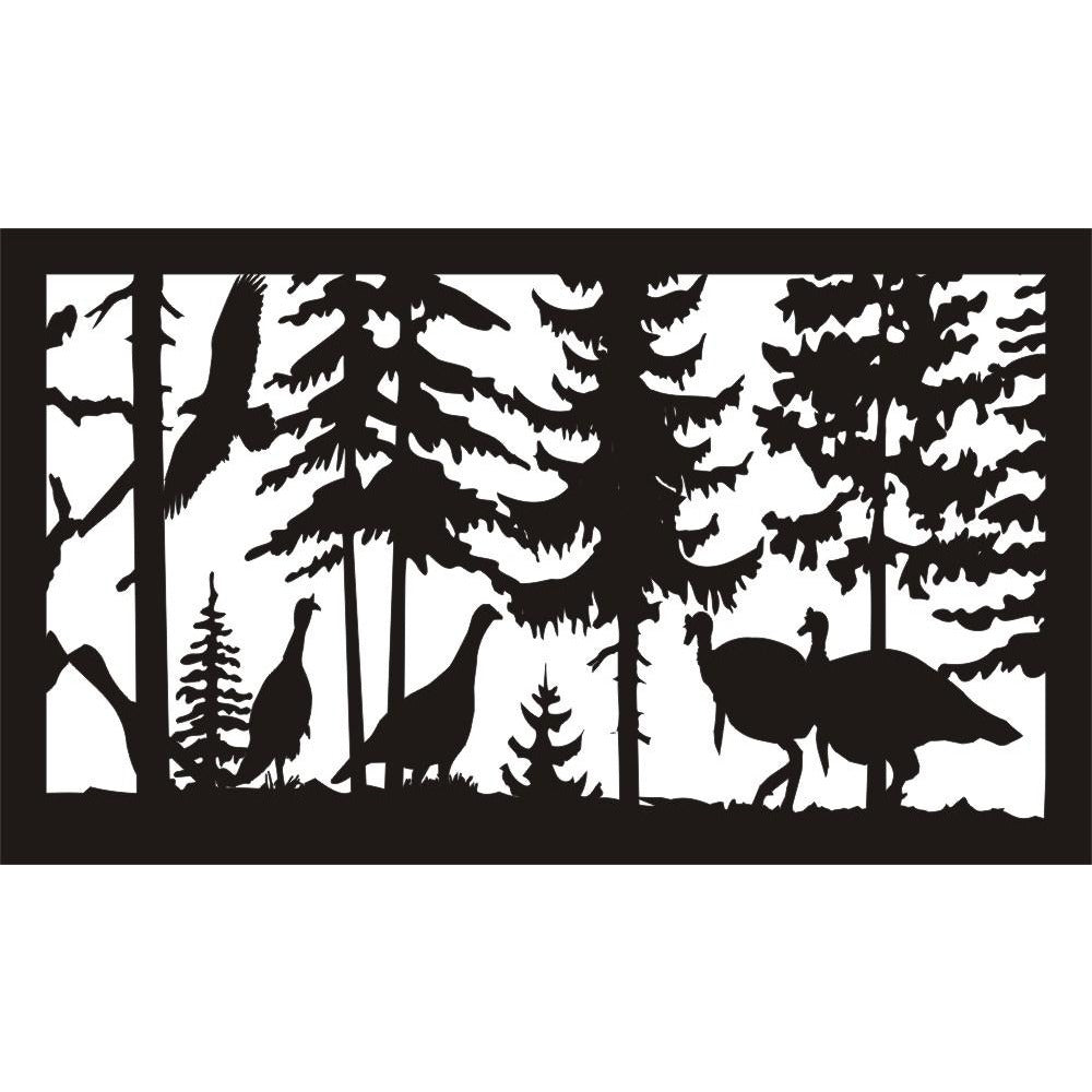 28 X 48 four turkeys and eagle - AJD Designs Homestore