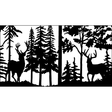 28 X 48 Two Buck Deer Trees - AJD Designs Homestore