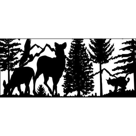 28 X 60 Bobcat Two Doe Eagle and Mountains - AJD Designs Homestore