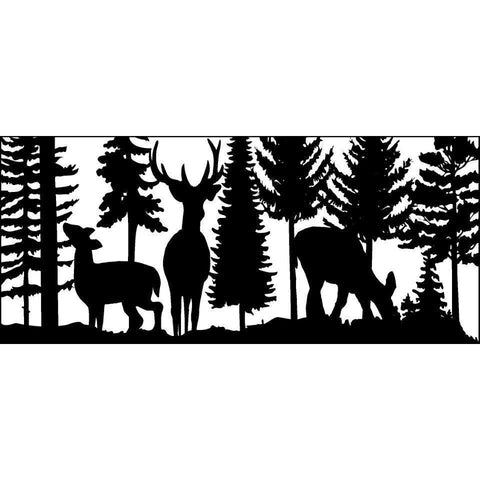 28 X 60 Buck Two Doe and Trees - AJD Designs Homestore