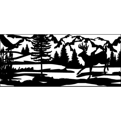 28 X 60 Heron Cattails Water Buck and Mountains - AJD Designs Homestore