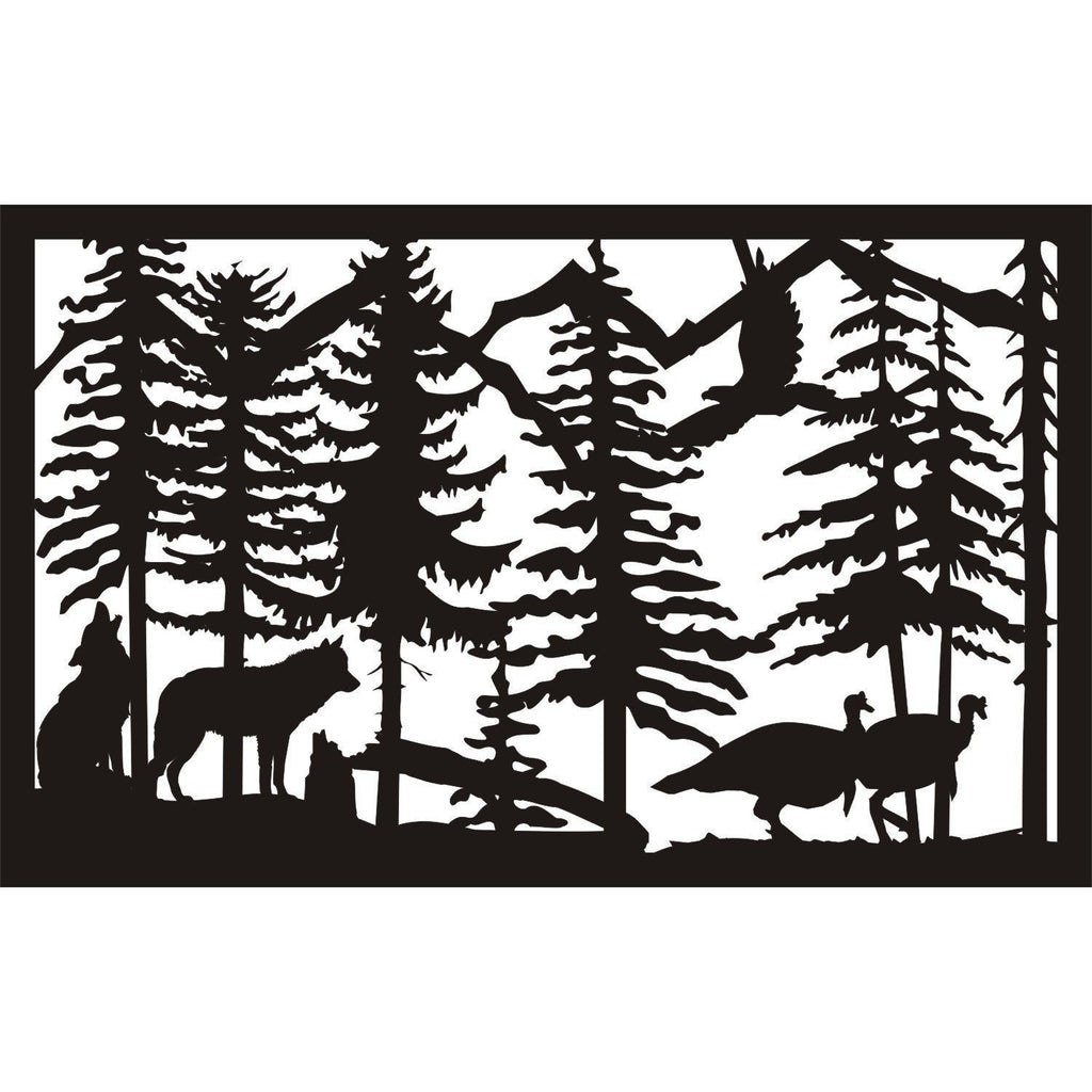 30 X 48 Two Wolves Turkeys and Eagle - AJD Designs Homestore