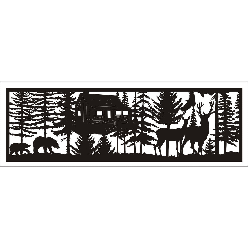 30 X 96 Two Bears Cabin Two Deer Eagle - AJD Designs Homestore