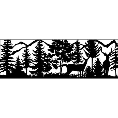 30 X 84 Doe Buck Trees Mountains - AJD Designs Homestore