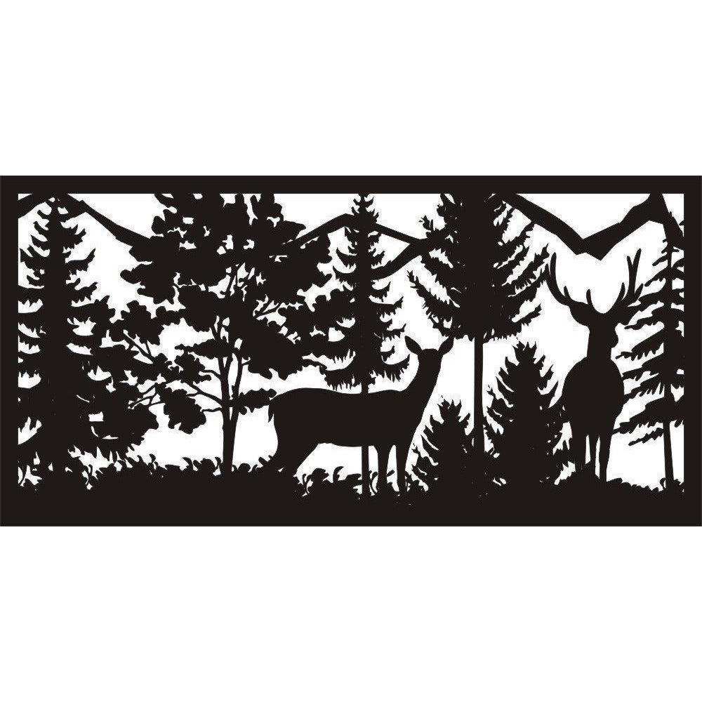 30 X 60 Doe Buck Trees Mountains - AJD Designs Homestore