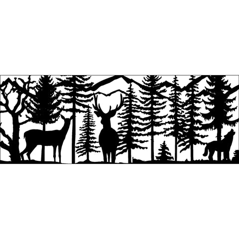 30 x 72 Doe Buck Wolf Howling - AJD Designs Homestore