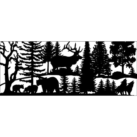 30 x 72 Three Bears Elk two Wolves - AJD Designs Homestore