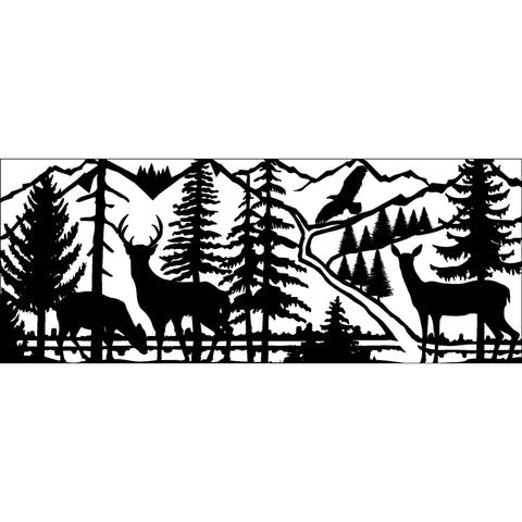 30 X 72 Three Deer Eagle Stream Mountains - AJD Designs Homestore