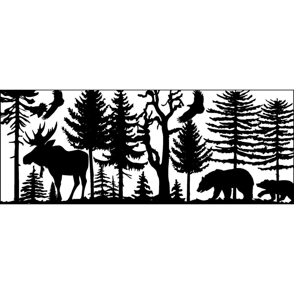 30 X 72 Two Bears Eagle Bull Moose Trees - AJD Designs Homestore