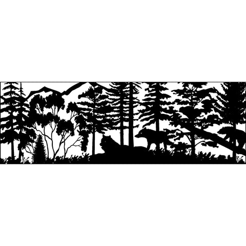 30 x 84 Two Wolves Trees Bear Mountains - AJD Designs Homestore