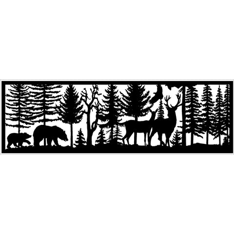 30 x 96 Bear and Cub Buck and Doe Eagle - AJD Designs Homestore