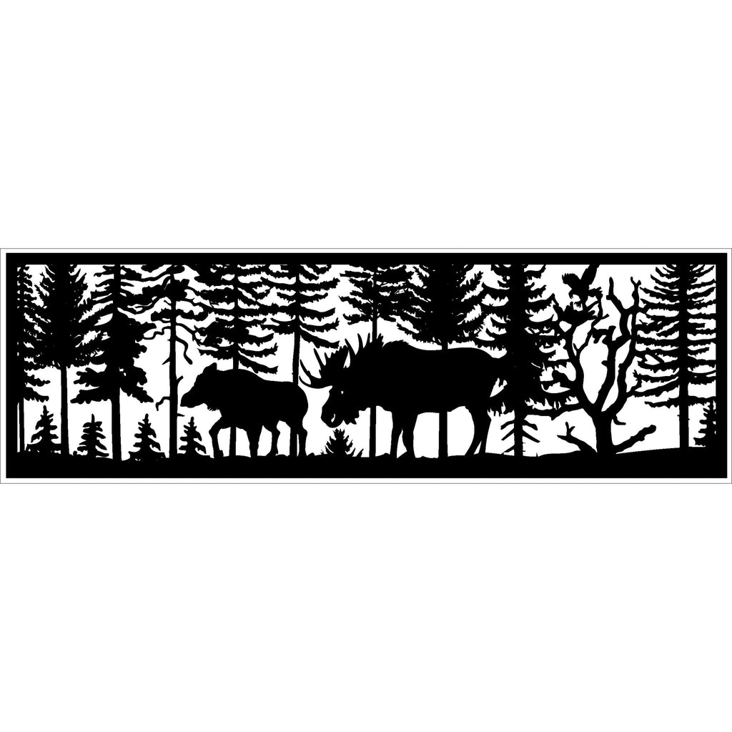 30 x 96 Bull and Cow Moose Eagle Landing - AJD Designs Homestore