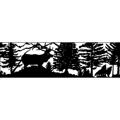 30 X 96 Elk Two Coyotes Mountains - AJD Designs Homestore