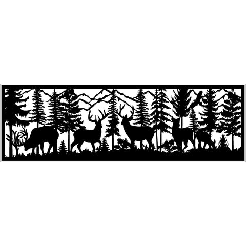 30 x 96 Three Bucks Two Does Eagle and Mountains - AJD Designs Homestore