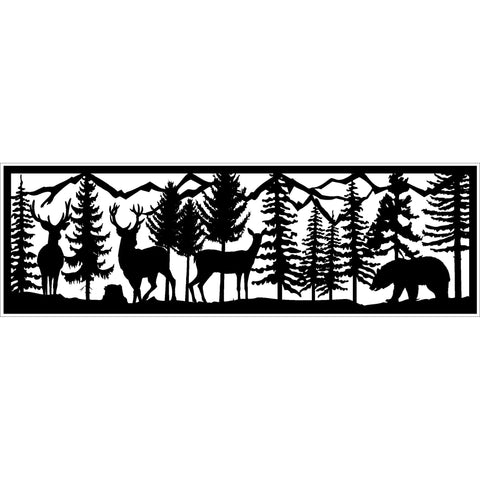 30 x 96 Three Deer Stump Bear and Mountains - AJD Designs Homestore