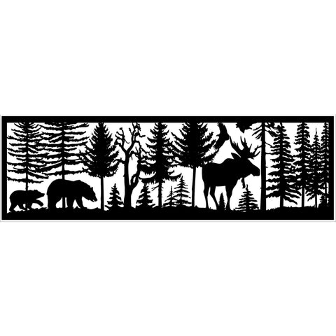 30 x 96 Two Bears Moose Eagle - AJD Designs Homestore