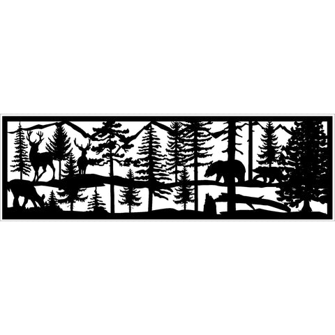 30 x 96 Two Bucks Doe Stream and Mountains - AJD Designs Homestore
