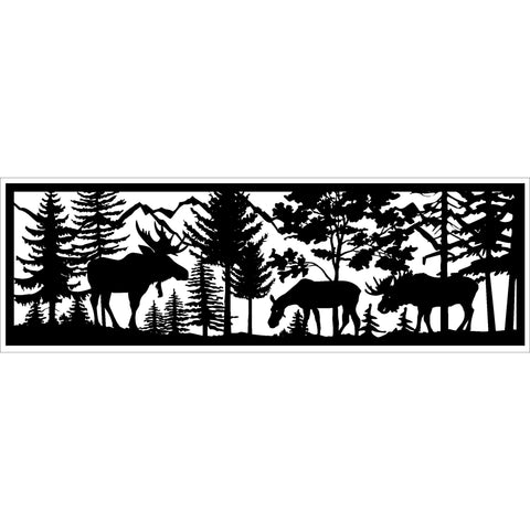 30 x 96 Two Bull Moose Cow and Mountains - AJD Designs Homestore