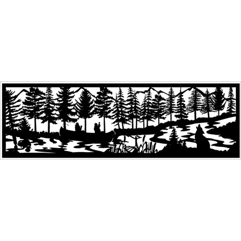 30 x 96 Beaver Canoers Duck Coyote River - AJD Designs Homestore