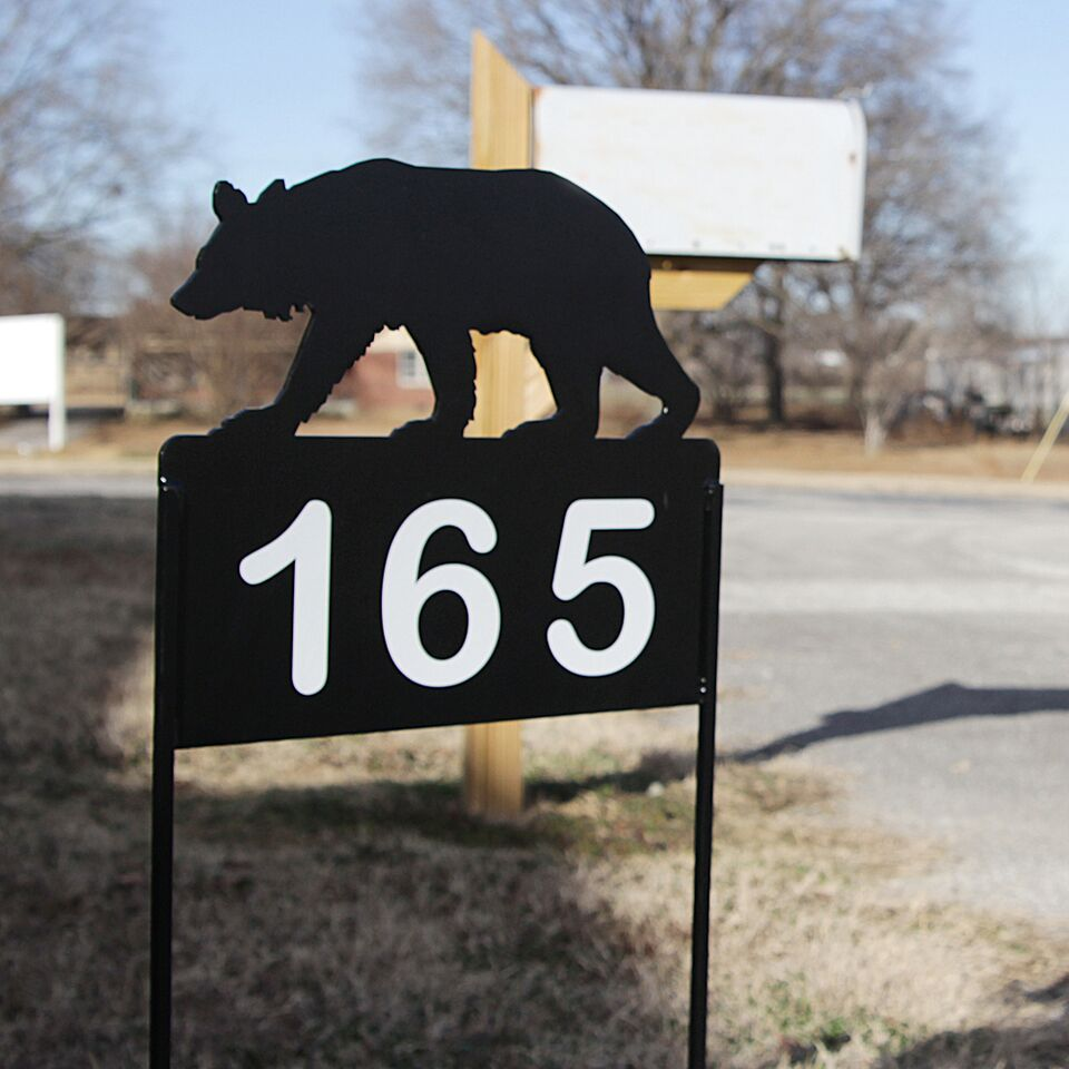 Personalize Address Yard Sign With a Walking Bear with Reflective Numbers for Displaying House Numbers