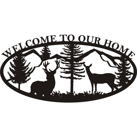 Welcome To Our Home Buck Doe and Mountains Sign