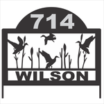 Personalize Address Yard Sign With Ducks Flying For Displaying House Numbers and Last Name
