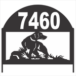 Personalize Address Yard Sign With a Lab Hunting Dog For Displaying House Numbers