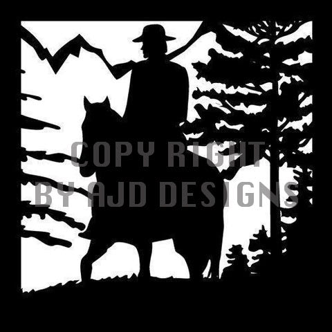 24 x 24 Hunter on Horseback Trees