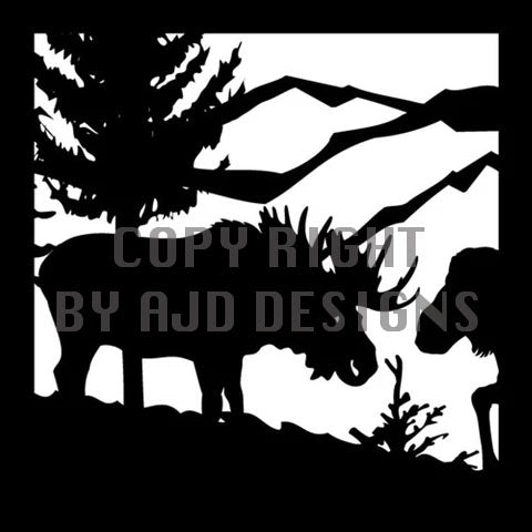 24 x 24 Bull Moose Cow Trees Mountains