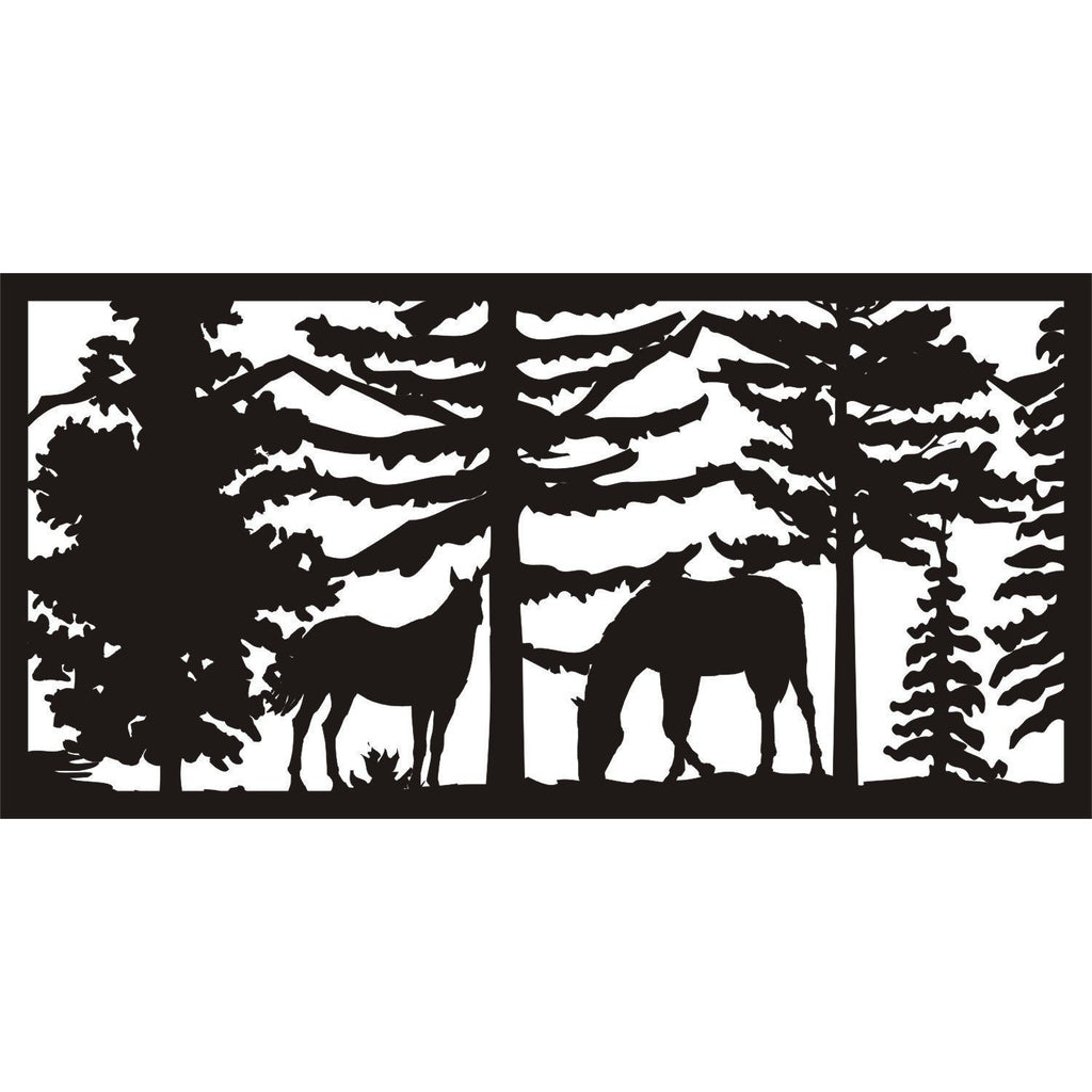30 X 60 Two Horses Panel 1 - AJD Designs Homestore