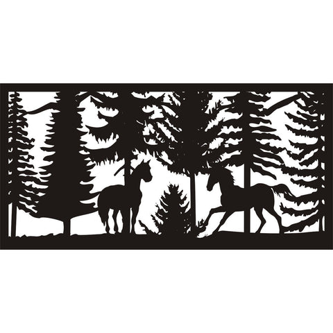 30 X 60 Two Horses Panel 2 - AJD Designs Homestore