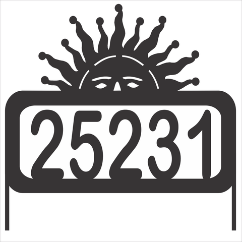 Personalize Address Yard Sign With a Peaking Sun Sunshine with Numbers