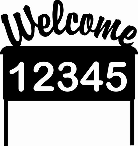 "Reflective Address Sign ""Welcome"" Custom Address Yard Sign - AJD Designs Homestore"