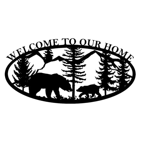 Welcome To Our Home Bear and Mountains Sign