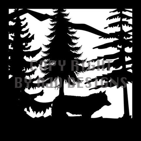 24 x 24 Wolf Trees Mountains