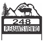Personalize Address Yard Sign With a Elk or Moose and Mountains For Displaying House Numbers