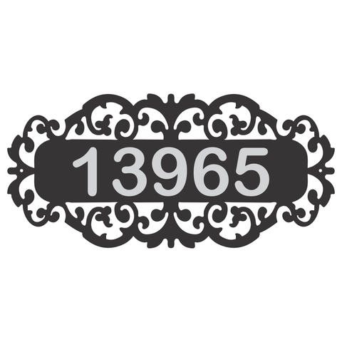 Personalize Fancy Address Wall Sign With Reflective Numbers