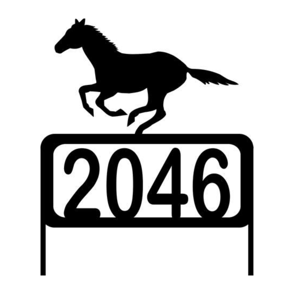 Personalize Address Yard Sign With a Running Arabian Running Horse with Numbers