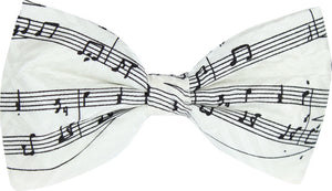 Ivory Music Manuscript Novelty Bow Tie