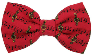 Red Music Manuscript Novelty Bow Tie