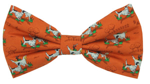 Gun Dogs on Orange Novelty Bow Tie