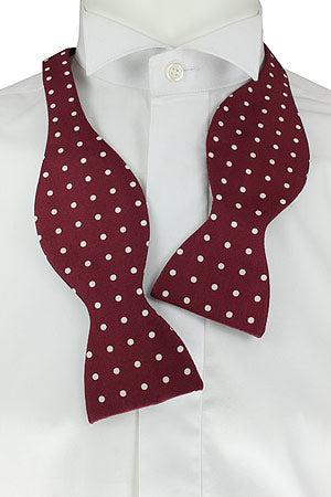 Self-Tie White Dots on Burgundy Fine Silk Bow Tie