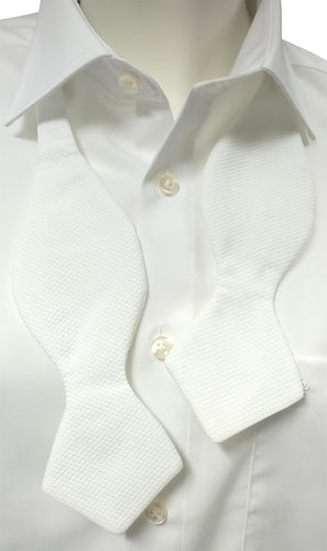 Self Tie Diamond Point White Marcella Bow Tie