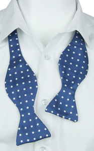 Self-Tie White dots on Blue Fine Silk Bow Tie