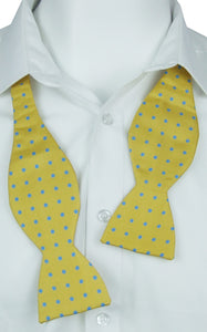 Self-Tie Blue dots on Mustard Fine Silk Bow Tie