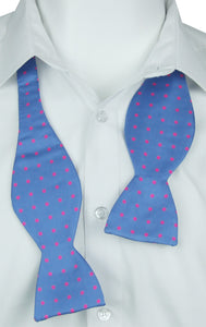 Self-Tie Pink dots on Blue Fine Silk Bow Tie