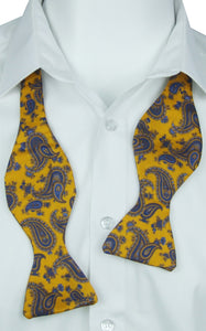Self-Tie Bright Baroque Paisley on Gold Fine Silk Bow Tie