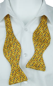 Self-Tie Neat Paisley on Yellow Fine Silk Bow Tie