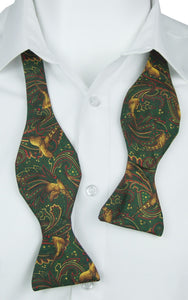 Self-Tie Elegant Pheasant on Green Fine Silk Bow Tie
